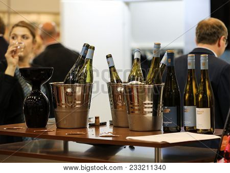 Cracow Poland - November 16 2017: International Wine Trade Fair Enoexpo In Cracow. Producers Of Wine