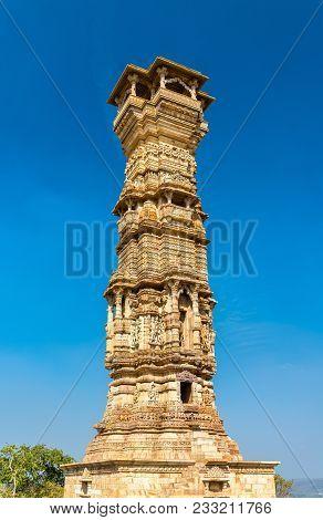 Kirti Stambha Tower At Chittorgarh Fort. Unesco World Heritage Site In Rajastan State Of India