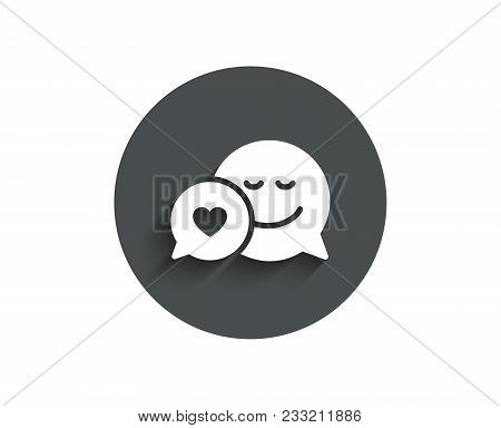 Comic Speech Bubble With Smile Simple Icon. Chat Emotion With Heart Sign. Circle Flat Button With Sh