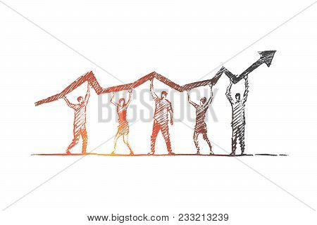 Vector Hand Drawn Teamwork Concept Sketch. Team Of Five People Standing And Holding Indicator Of Gro