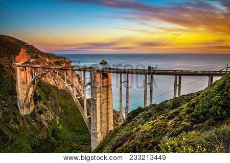 Bixby Bridge Also Known As Rocky Creek Bridge And Pacific Coast Highway At Sunset Near Big Sur In Ca