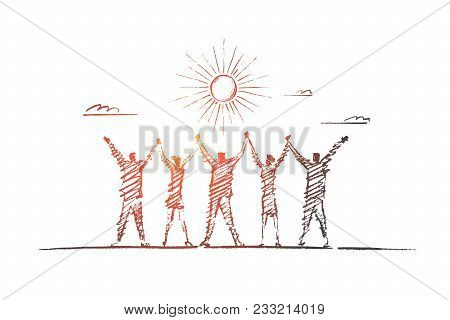 Vector Hand Drawn Team Concept Sketch. Team Of Five People Standing Backwards And Holding Each Other