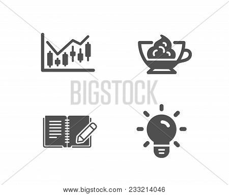 Set Of Financial Diagram, Espresso Cream And Feedback Icons. Light Bulb Sign. Candlestick Chart, Caf