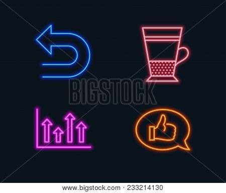 Neon Lights. Set Of Upper Arrows, Undo And Double Latte Icons. Feedback Sign. Growth Infochart, Left
