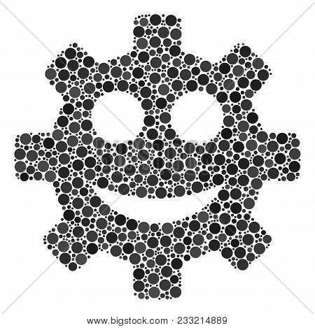 Gear Smile Smiley Mosaic Of Round Dots In Various Sizes And Color Tinges. Round Dots Are Combined In
