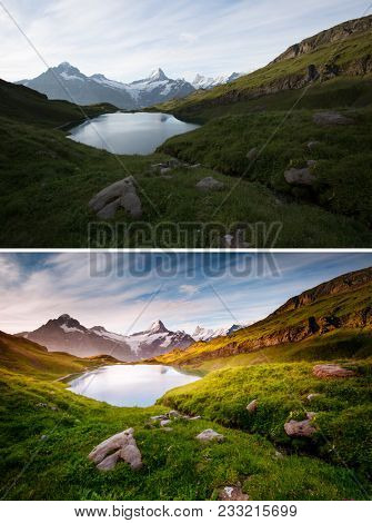 Attractive morning view. Location Bachalpsee in Swiss alps, Grindelwald, Bernese Oberland, Europe. Spring scene. Scenic nature landscape. Images before and after. Original or retouch. Beauty of earth.