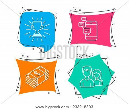 Set Of Usd Currency, Trophy And Communication Icons. Teamwork Sign. Buying Commerce, Winner Cup, Sma