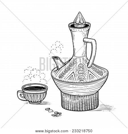 Ethiopian Vintage Coffeepot And Figured Cup With A Hot Drink And A Flavored Vapor, Coffee Beans. Vec