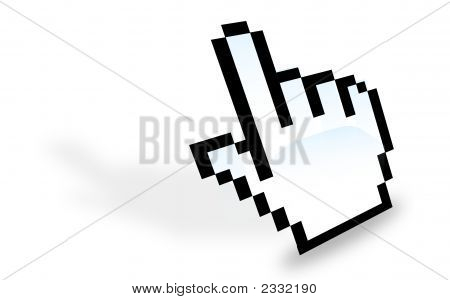 Hand cursor on a white background lied down poster