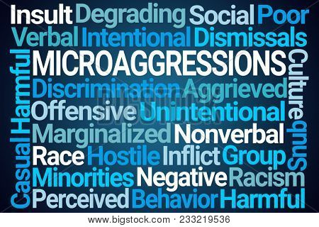 Microaggressions Word Cloud on Blue Background