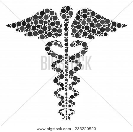 Medical Caduceus Emblem Collage Of Round Dots In Different Sizes And Color Tinges. Dots Are Organize