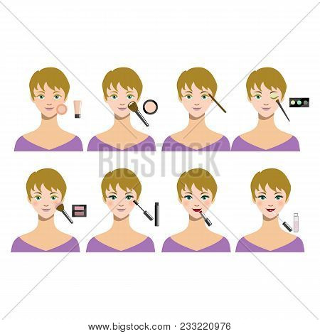 Cartoon Female Makeup Steps Beauty Cosmetic Facial Procedure Concept Flat Design Style. Vector Illus