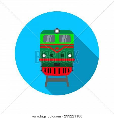 Icon With The Image Of The Locomotive. Front View. Vector Illustration