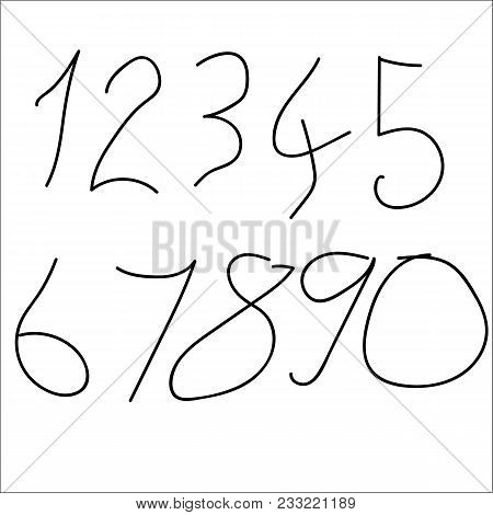 Set Of Numeric Font Numbers For Abstract Art.