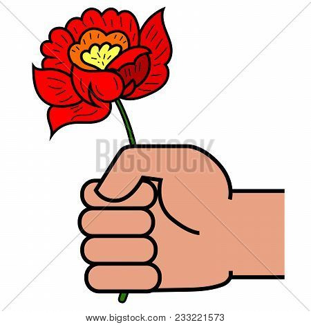 Man Holding In Hand Red Flower. Give Flowers. Vector Illustration.