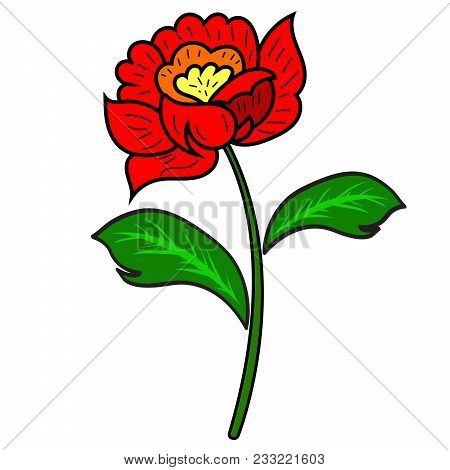 Red Flower With A Stem And Leaves On A White Background. Vector Illustration