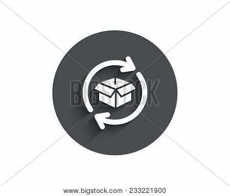 Exchange Of Goods Simple Icon. Return Parcel Sign. Package Tracking Symbol. Circle Flat Button With