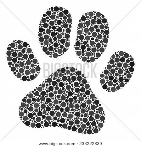 Paw Footprint Mosaic Of Dots In Various Sizes And Color Tones. Circle Elements Are Organized Into Pa