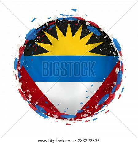 Round Grunge Flag Of Antigua And Barbuda With Splashes In Flag Color. Vector Illustration.