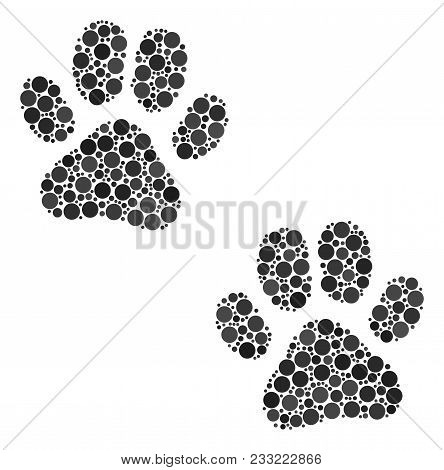 Paw Footprints Composition Of Circle Dots In Variable Sizes And Color Tinges. Circle Dots Are United