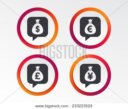 Money Bag Icons. Dollar, Euro, Pound And Yen Speech Bubbles Symbols. Usd, Eur, Gbp And Jpy Currency