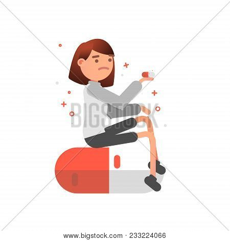 Woman Taking Pills. Healthy Lifestyle Concept. Vector Cartoon Illustration. Square Layout