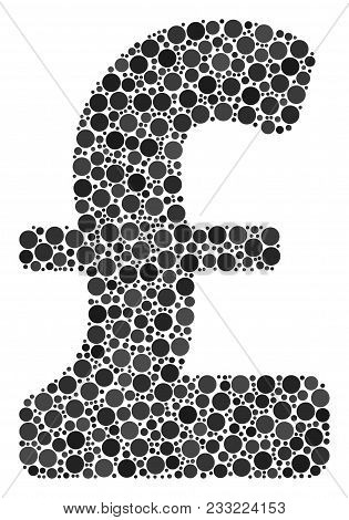 Pound Sterling Collage Of Filled Circles In Variable Sizes And Color Hues. Round Dots Are Combined I