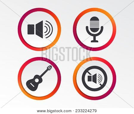Musical Elements Icons. Microphone And Sound Speaker Symbols. No Sound And Acoustic Guitar Signs. In