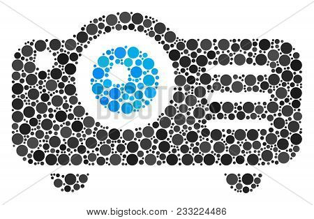 Projector Composition Of Filled Circles In Variable Sizes And Color Tones. Circle Elements Are Compo