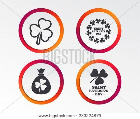 Saint Patrick Day Icons. Money Bag With Clover Sign. Wreath Of Trefoil Shamrock Clovers. Symbol Of G