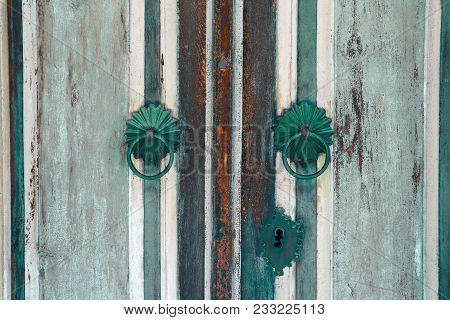 Old Wooden Vintage Door, Metal Door Handle Decoration. Antique Entrance Gate, Made Of Wood, Temple H