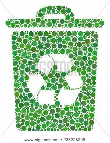 Recycle Bin Collage Of Dots In Different Sizes And Color Tints. Circle Elements Are Composed Into Re