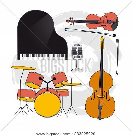 A Set Of Musical Concert Instruments. Clipart On An Abstract Beige Background.royal, Drums, Double B
