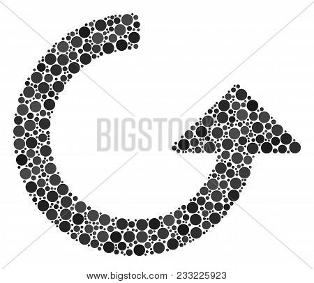 Rotate Composition Of Round Dots In Different Sizes And Color Hues. Round Dots Are Grouped Into Rota