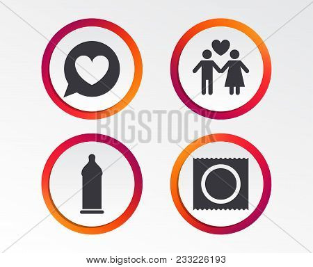 Condom Safe Sex Icons. Lovers Couple Signs. Male Love Female. Speech Bubble With Heart. Infographic