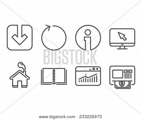 Set Of Load Document, Website Statistics And Loop Icons. Internet, Book And Atm Signs. Download Arro