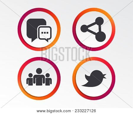 Social Media Icons. Chat Speech Bubble And Bird Chick Symbols. Human Group Sign. Infographic Design