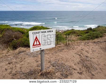 Margaret River, Western Australia - January 27, 2018: Warning Sign At Moses Rock Beach, Near Margare