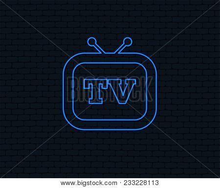Neon Light. Retro Tv Sign Icon. Television Set Symbol. Glowing Graphic Design. Brick Wall. Vector