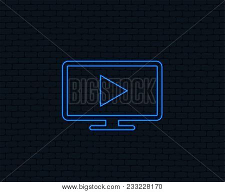 Neon Light. Widescreen Tv Mode Sign Icon. Television Set Symbol. Glowing Graphic Design. Brick Wall.