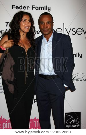 LOS ANGELES - SEP 10:  Sugar Ray Leonard & Wife Bernadette arriving at the 2011 Pink Party at Drai's - W Hollywood on September 10, 2011 in Los Angeles, CA