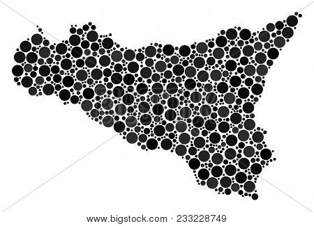 Sicilia Map Composition Of Circle Dots In Variable Sizes And Color Tints. Circle Elements Are Combin