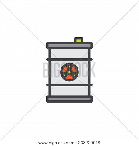 Waste Barrel Filled Outline Icon, Line Vector Sign, Linear Colorful Pictogram Isolated On White. Nuc