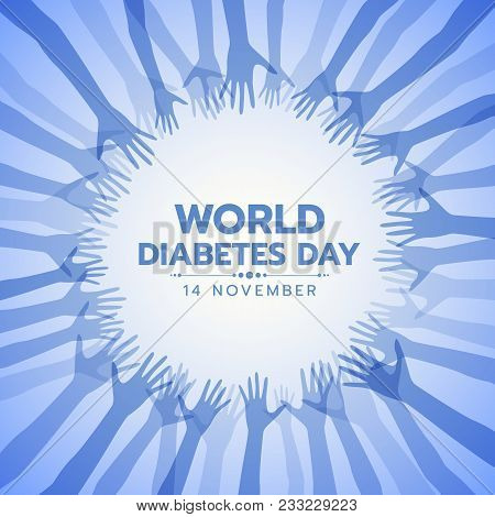 World Diabetes Day Banner With Abstract Blue Hand Sign Around Circle Frame Vector Design
