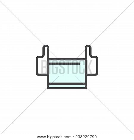 Medical Mask Filled Outline Icon, Line Vector Sign, Linear Colorful Pictogram Isolated On White. Mas