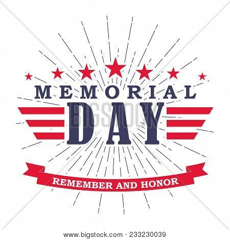 Memorial Day Banner With Stars, Stripes And Ribbon. Template For Memorial Day. Isolated On White. Ve