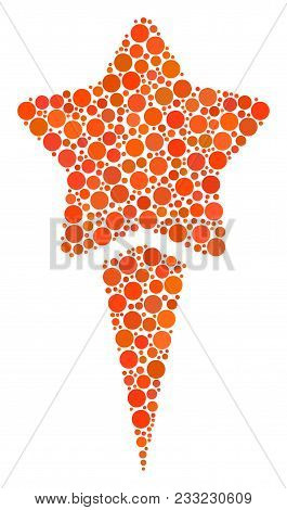 Starting Star Mosaic Of Circle Dots In Different Sizes And Color Shades. Filled Circles Are Composed