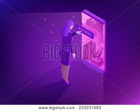 Isometric Online Shopping Concept. Smart Phone Shopping In Online Store