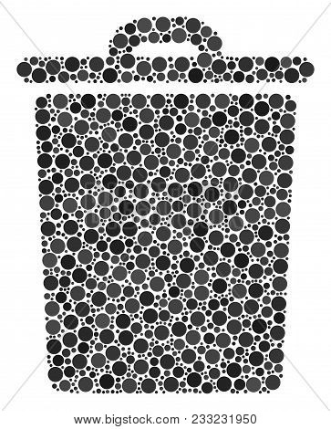 Trash Bin Mosaic Of Dots In Variable Sizes And Color Tones. Circle Elements Are Combined Into Trash