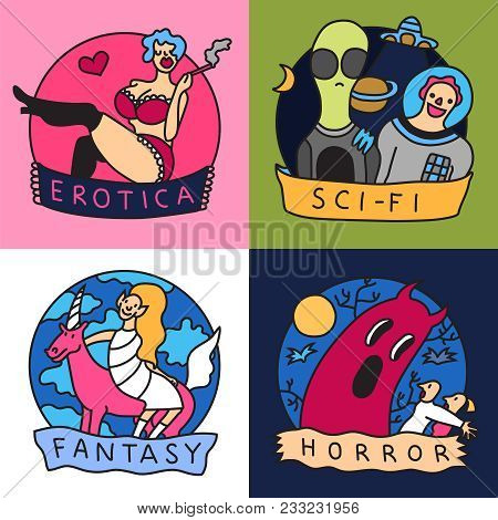 Cinema Genres Concept  4 Colorful Icons With Science Fiction Horror Fantasy And Erotic Movies Isolat